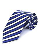 Blue & White with Black PinStripe Silk Tie