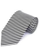 White & Black Stripe Silk Tie